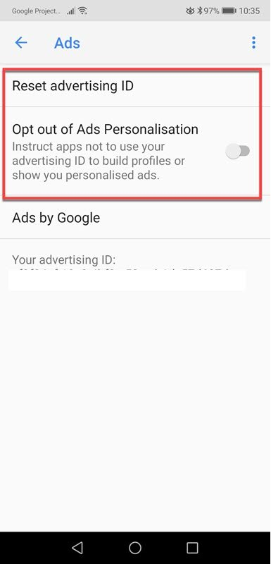 Android Ads Settings screen shot